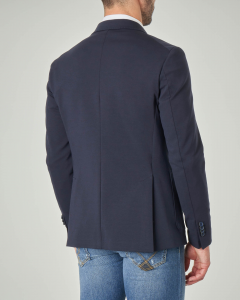 Blazer blu in jersey di cotone stretch
