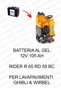 RIDER R 65 RD 55 BC BATTERIA AL GEL 12V 105 Ah per lavapavimenti Ghibli & Wirbel