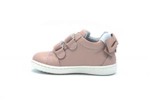 Sneaker in pelle con fiocco