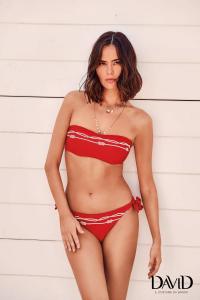 Costume da bagno donna bikini due pezzi a fascia rosso DAVID