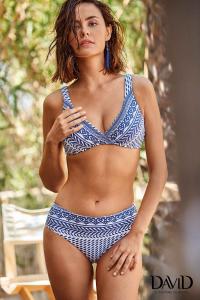 Costume da bagno donna bikini due pezzi blu in fantasia DAVID