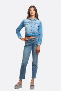 NOSECRETS 211NS005 Giubbino jeans con profili strass