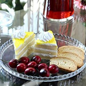 Piatto tondo in vetro trasparente per dolci e frutta
