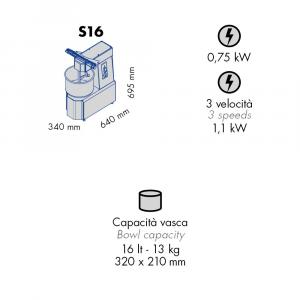 Impastatrice a Spirale S16 Capacità vasca 16 l