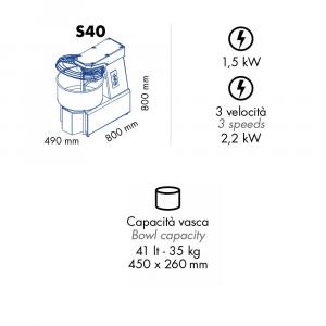 Impastatrice a Spirale S40 - Capacità vasca 40 l