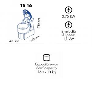 Impastatrice a Spirale TS16 Testa Sollevabile