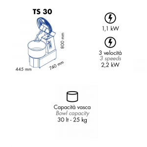 Impastatrice a Spirale TS30 Testa Sollevabile