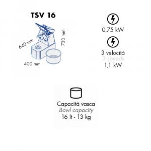 Impastatrice a Spirale TSV16 Testa Sollevabile+Vasca Estraibile