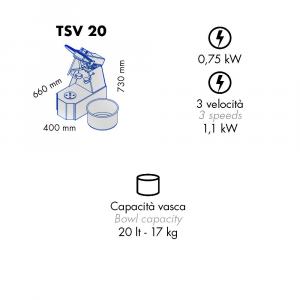 Impastatrice a Spirale TSV20 Testa Sollevabile+Vasca Estraibile