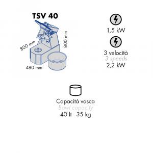 Impastatrice a Spirale TSV40 Testa Sollevabile+Vasca Estraibile