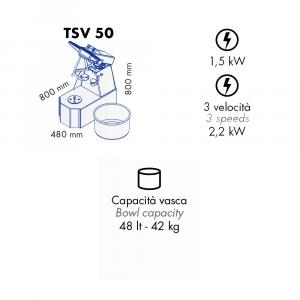 Impastatrice a Spirale TSV50 Testa Sollevabile+Vasca Estraibile