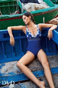 Costume da bagno intero per donna blu stampa in bianco DAVID