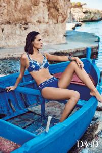 Costume da bagno donna bikini due pezzi bianco e blu DAVID