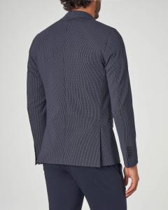 Blazer blu micro fantasia in jersey di cotone stretch