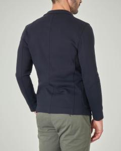 Giacca maglia blu in cotone micro piquet stretch