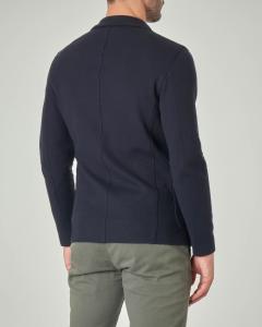 Giacca maglia blu in cotone micro armatura stretch