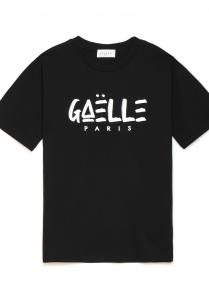 T-shirt nera con logo gaelle paris