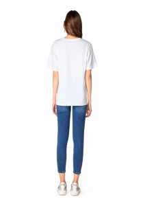 T-shirt bianca con logo gaelle paris