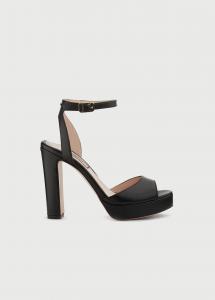 Sandali con plateau in pelle nera Liu Jo