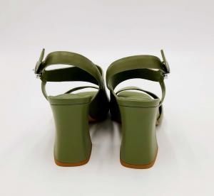 Sandalo con tacco largo verde militare Jeannot