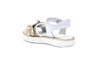 Sandalo pelle e tessuto glitter