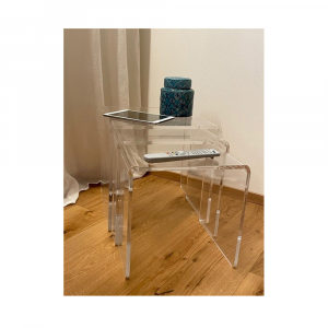 Trio of stackable tables in Transparent Acrylic