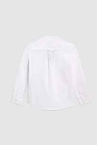 Camicia coreana in misto cotone e lino bianca 10-16 anni