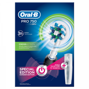 Oral-B PRO 750 CrossAction Adulto Spazzolino rotante-oscillante Nero