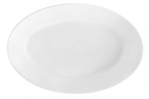 Piatto vassoio da portata in porcellana bianca ovale da forno con falda larga cm.42x27,5x6h