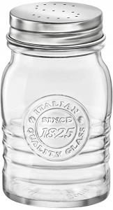 Spargisale in vetro trasparente con tappo in alluminio CL 24 Officina cm.11h diam.6,4