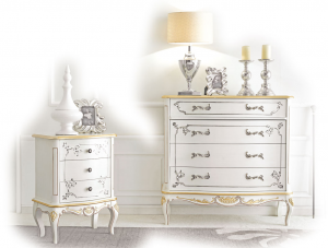 Schlafzimmer-Kommode in Weiß White Gold