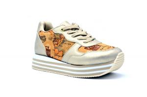 Sneaker platform con tessuto Geo