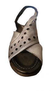 Sandalo donna | pelle nera sfumata grigiob| incrociata | Made in Italy