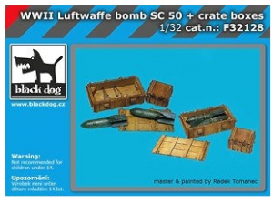 WWII Luftwaffe Bomb SC 50 + Crate Boxes