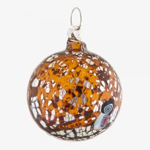 Palla di natale vetro Murano ambra scuro tutto argento e murrine colorate