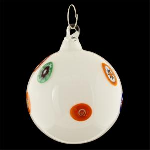Palla di natale vetro Murano bianca e murrine colorate