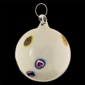 Palla di natale vetro Murano bianca foglia oro zecchino e murrine colorate