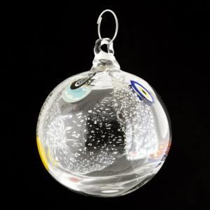 Palla di natale vetro Murano cristallo con foglie argento e murrine colorate