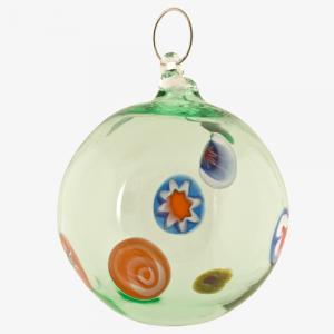 Palla di natale vetro Murano verde con murrine colorate