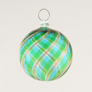 Palla Natale vetro Murano soffiato filigrana multicolore e avventurina colore verde e turchese
