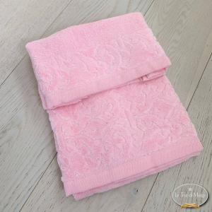 Asciugamani balza in ciniglia rosa