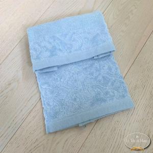 Asciugamani balza in ciniglia azzurro