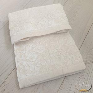 Asciugamani balza in ciniglia panna