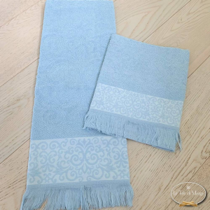 Asciugamani arabesco sfrangiato azzurro