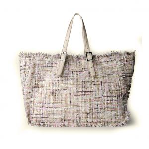Shopper panna/multicolor in tessuto tweed bouclé PashBag