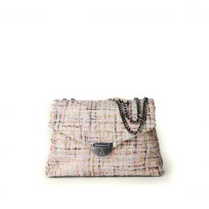 Borsa a tracolla panna/multicolor in tweed bouclé PashBag