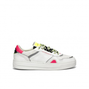 Sneaker bianca/fuxia Crime London