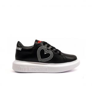 Sneaker nera con cuore Love Moschino
