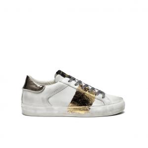 Sneaker bianca con banda oro Crime London