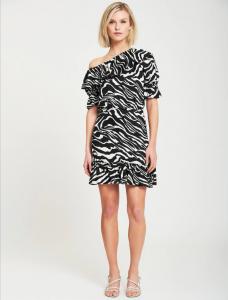 Vicolo - abito asimmetrico zebrato